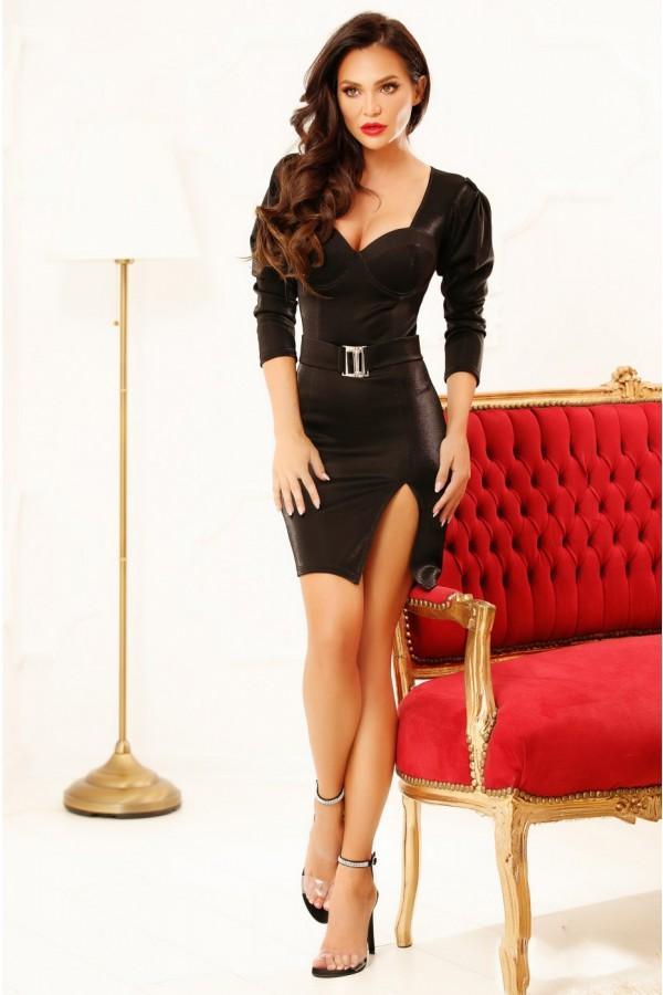 Rochie neagra de seara cu accesoriu fin in talie