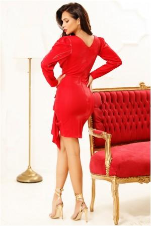 Rochie rosie cu volanese eleante