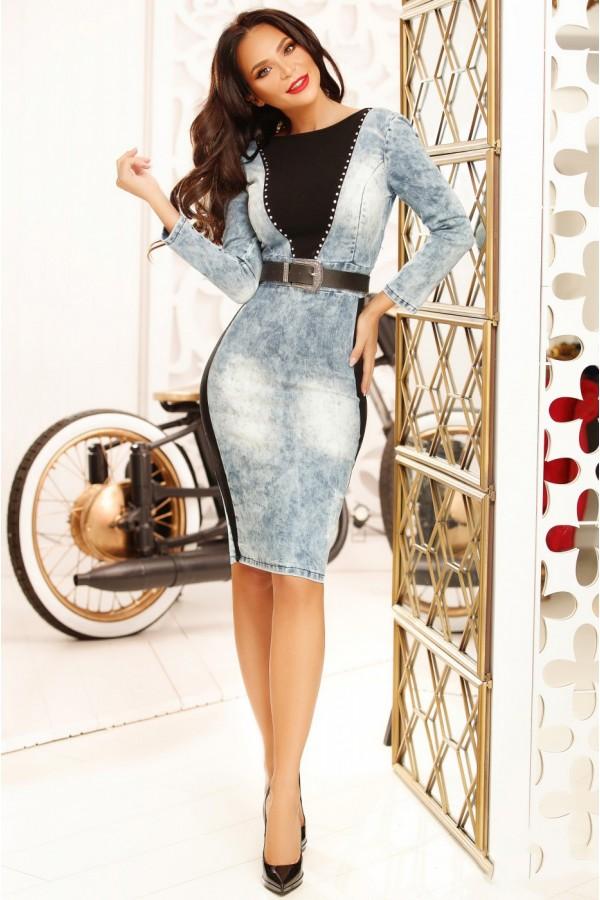 Rochie denim cu aplicatii din tricot negru
