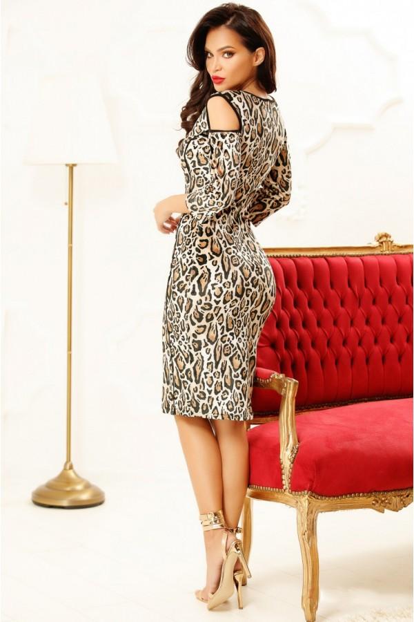 Rochie midi cu model animal print in nuante de maro si negru