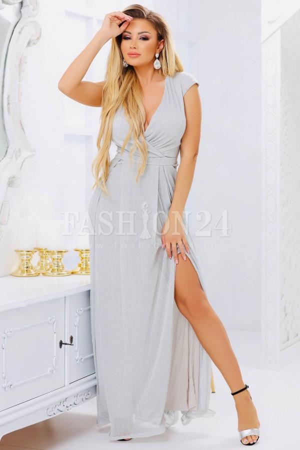Rochie de seara argintie cu crapatura pe picior