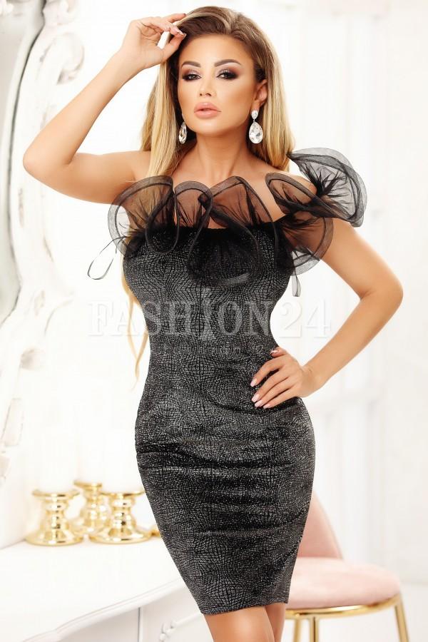 Rochie negru cu gri cu model deosebit si sclipici
