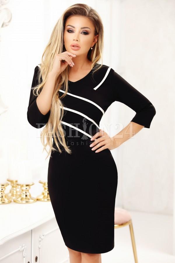 Rochie Cara in doua culori negru si alb