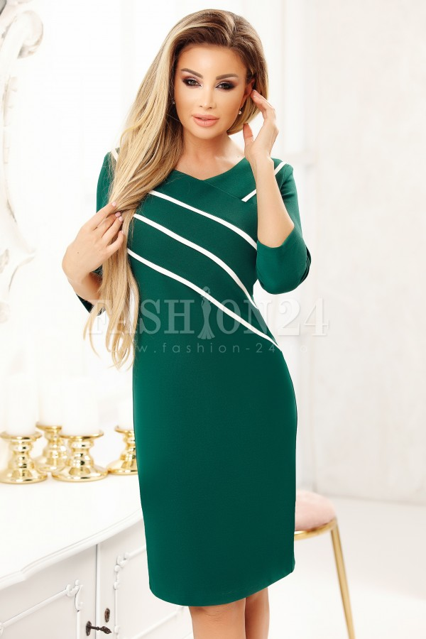 Rochie Cara In Doua Culori Verde Si Alb