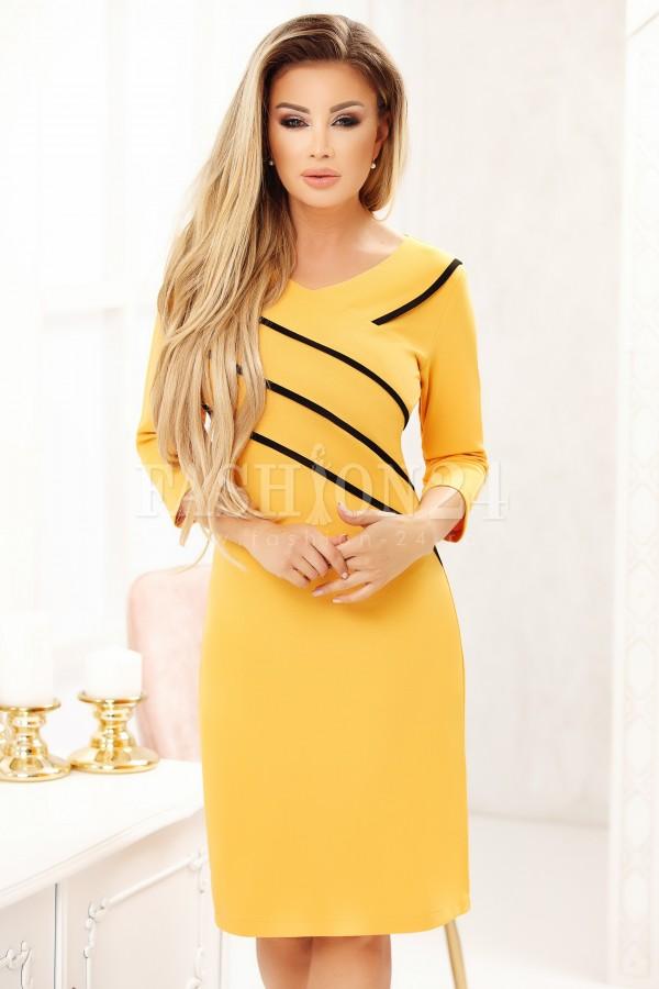 Rochie Cara in doua culori mustar si negru