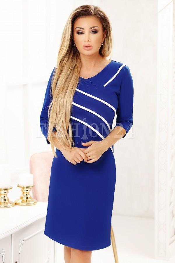 Rochie Cara in doua culori albastru si alb