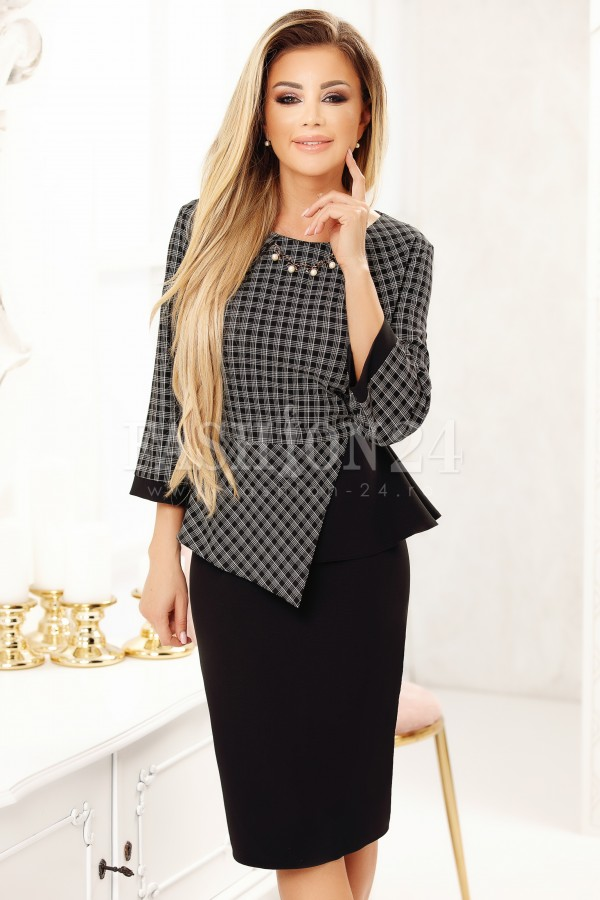 Rochie Felicia neagra eleganta cu peplum in talie