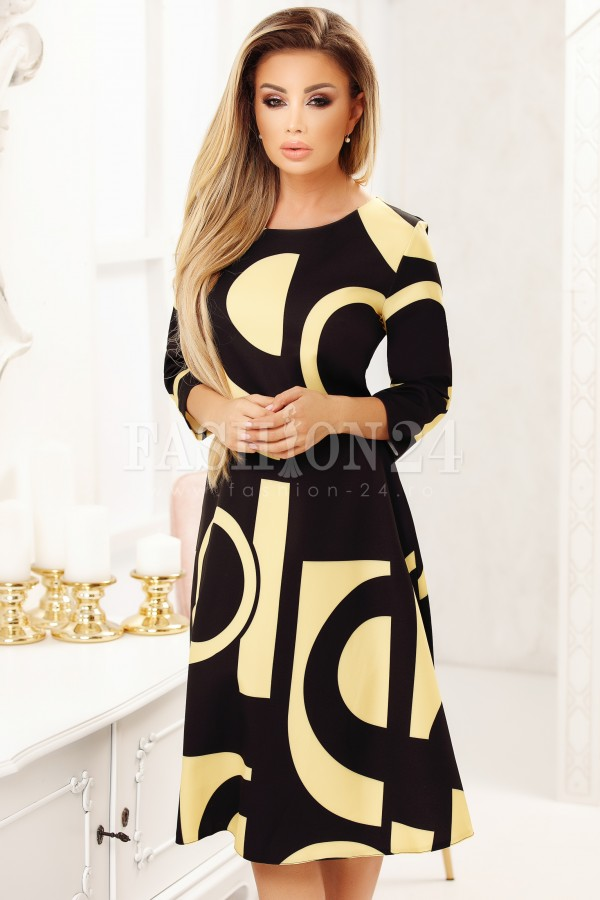 Rochie Bela in doua culori galben si negru