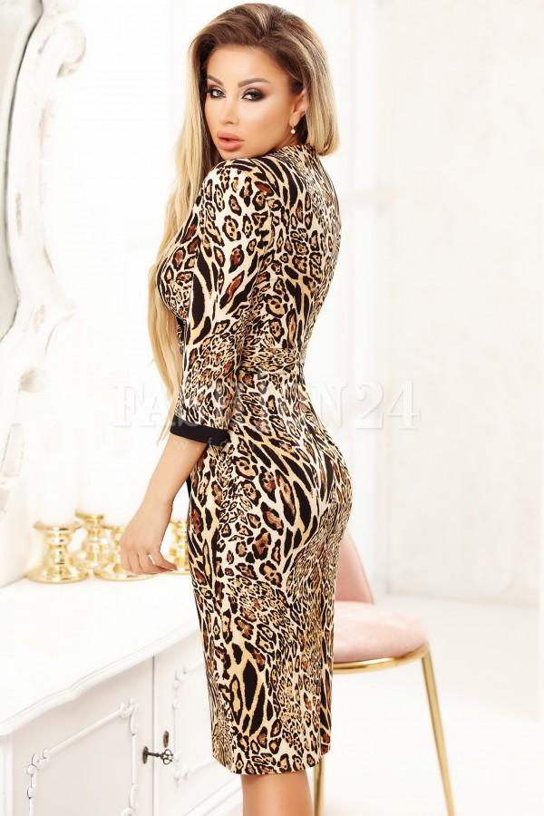 Rochie Natalia cu imprimeu leopard