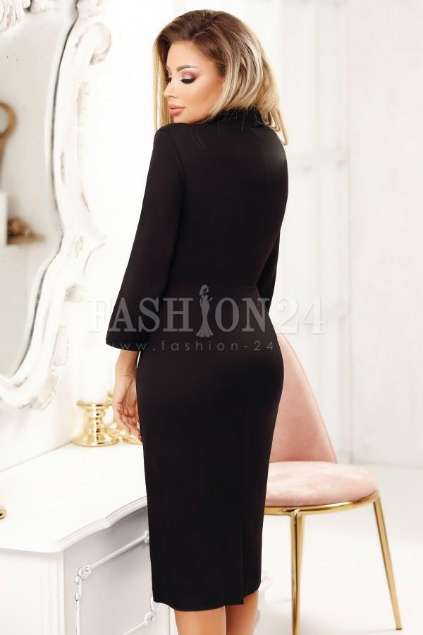 Rochie Laura neagra midi eleganta cu nasturi