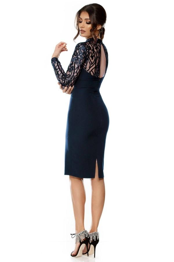 Rochie Mirela bleumarin cu o maneca lunga