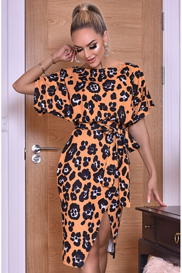 Rochie de seara leopard cu cordon in talie