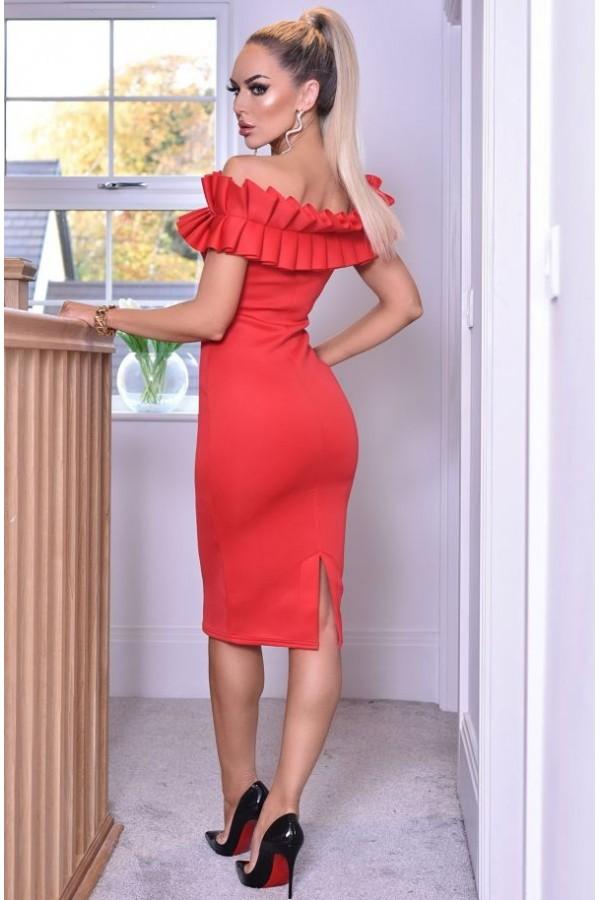Rochie Evelyn rosu eleganta