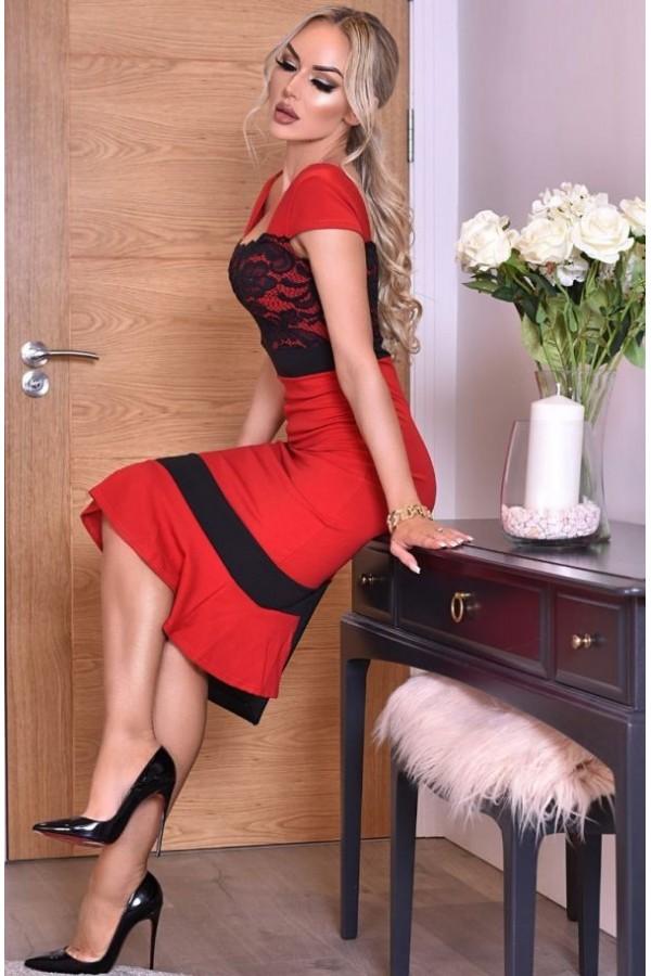 Rochie Sorana in doua culori rosu si negru