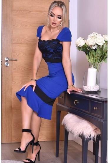 Rochie Sorana in doua culori albastru si negru