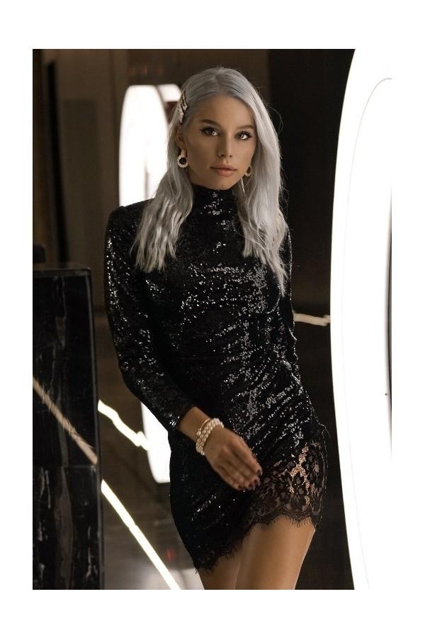 Rochie Tessa neagra cu paiete