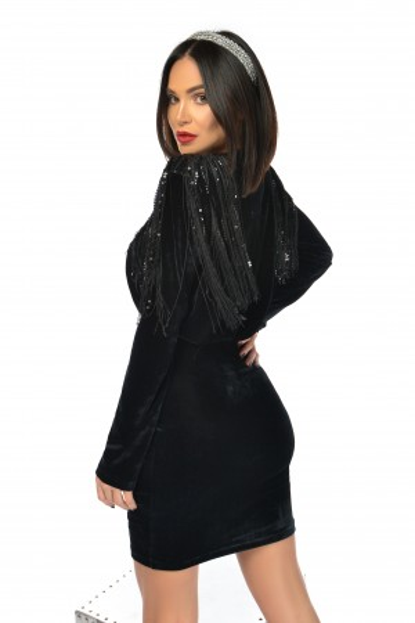 Rochie de seara Ami neagra din catifea