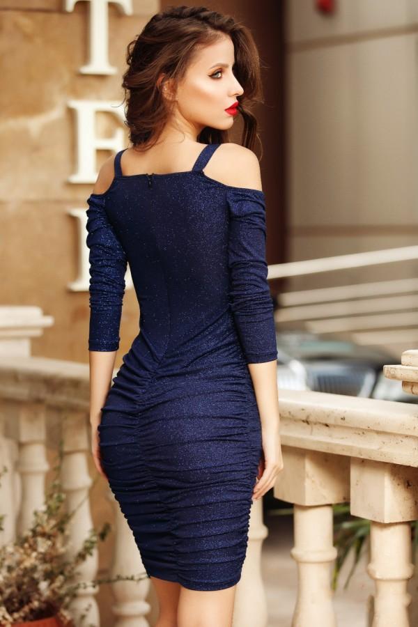 Rochie Lorena bleumarin lucioasa