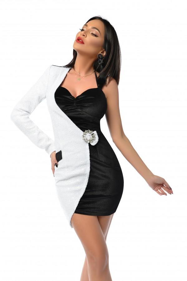 Rochie Mira in doua culori alb si negru