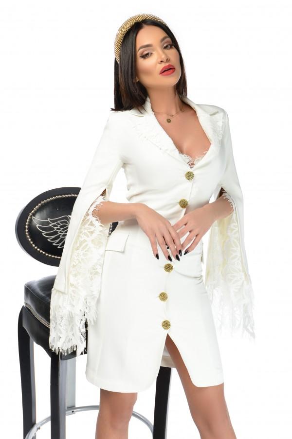 Rochie Clessidra alba cu dantela
