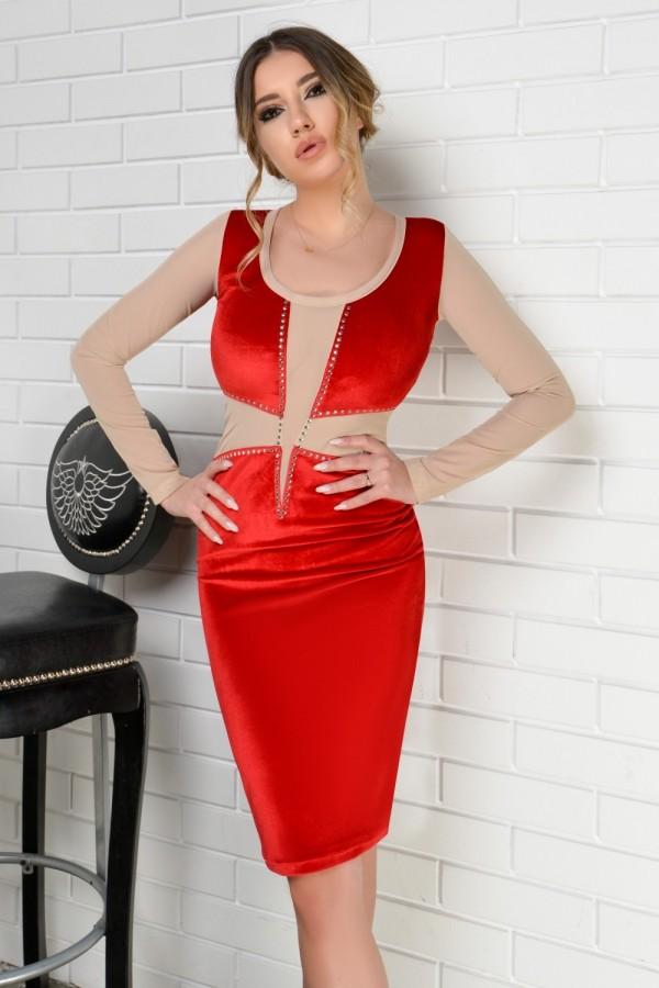Rochie Larissa rosie din catifea