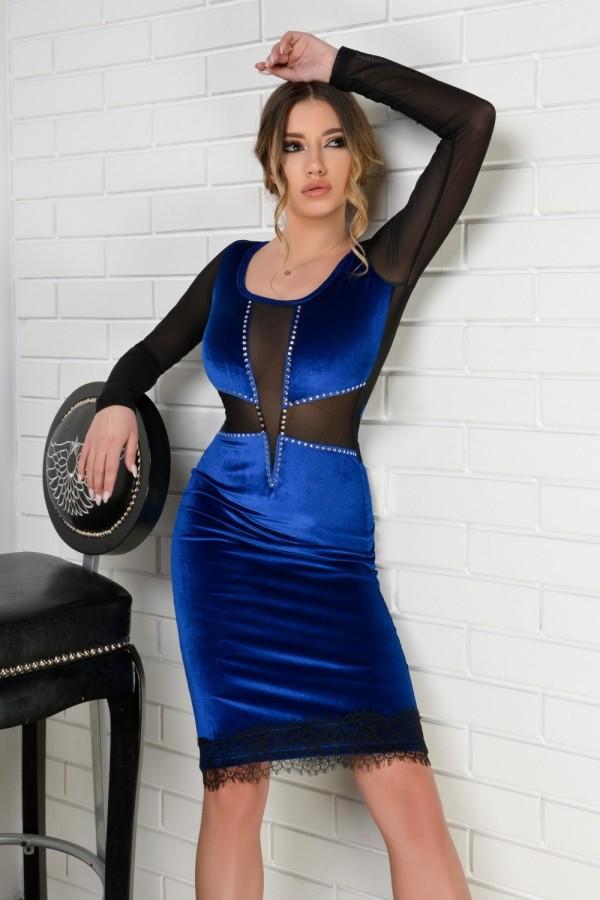 Rochie Larissa albastra din catifea