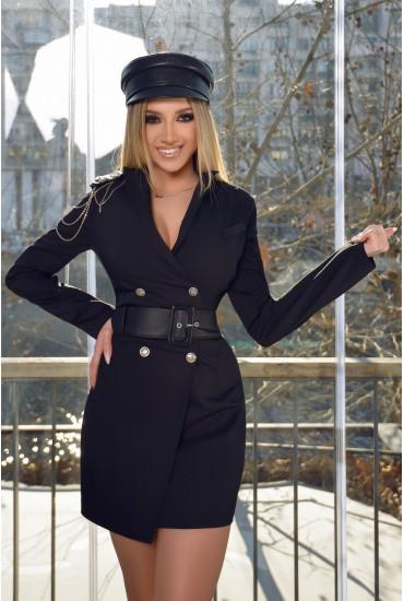 Rochie scurta in nuante de negru tip sacou