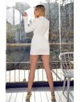 Rochie mini in nuante de alb cu decolteu in V