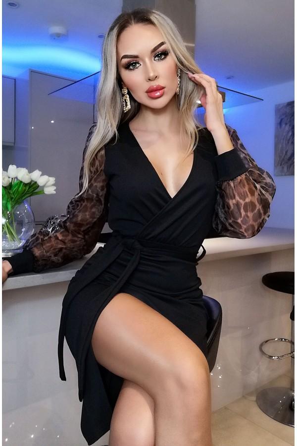 Rochie Alina neagra cu maneci bufante