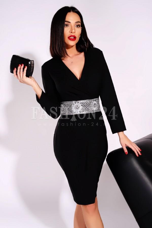 Rochie Corina in nuante de negru cu broderie