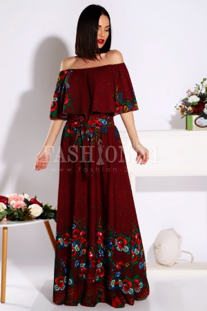 Rochie Agatha traditionala in nuante de bordo