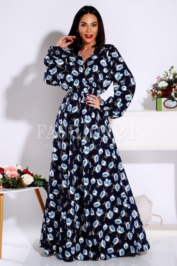 Rochie Sonia cu imprimeuri florale in nuante de bleumarin