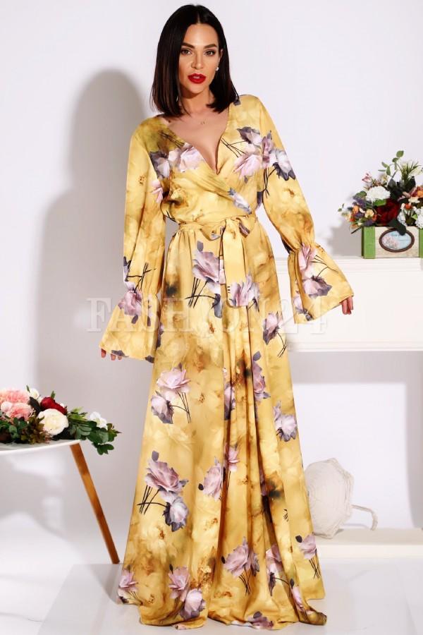 Rochie Sonia cu imprimeuri florale in nuante de galben