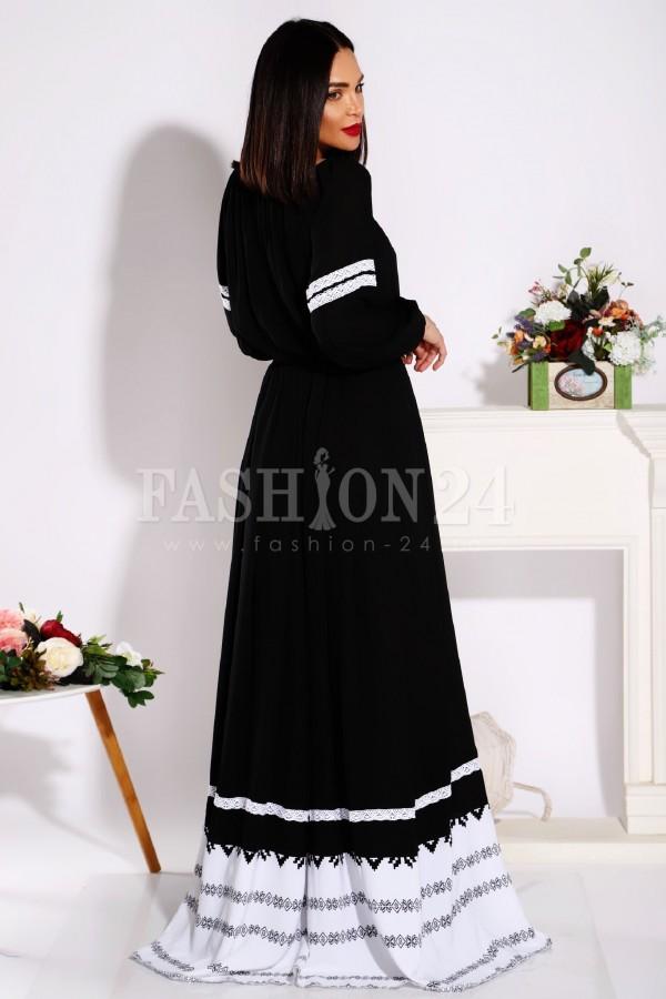 Rochie lunga Daniela in nuante de negru si alb