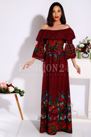 Rochie traditionala Cristina bordo