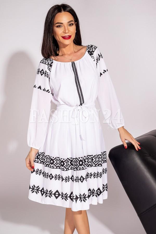 Rochie Gabriela traditionala in doua nuante alb si negru