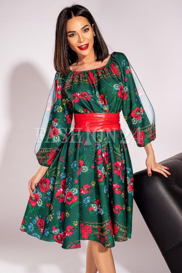 Rochie Susana traditionala verde