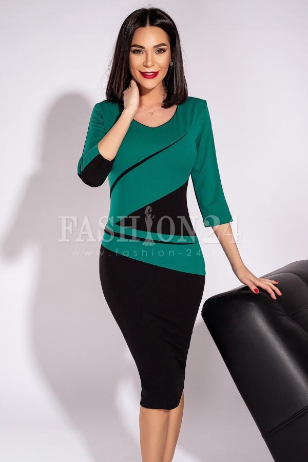 Rochie Lora mulata eleganta verde si negru