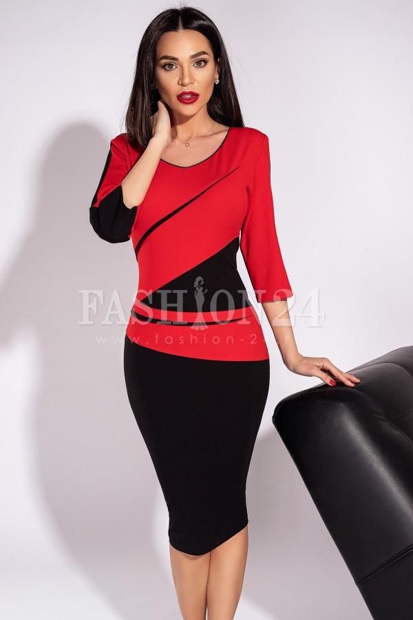 Rochie Lora mulata eleganta rosu si negru