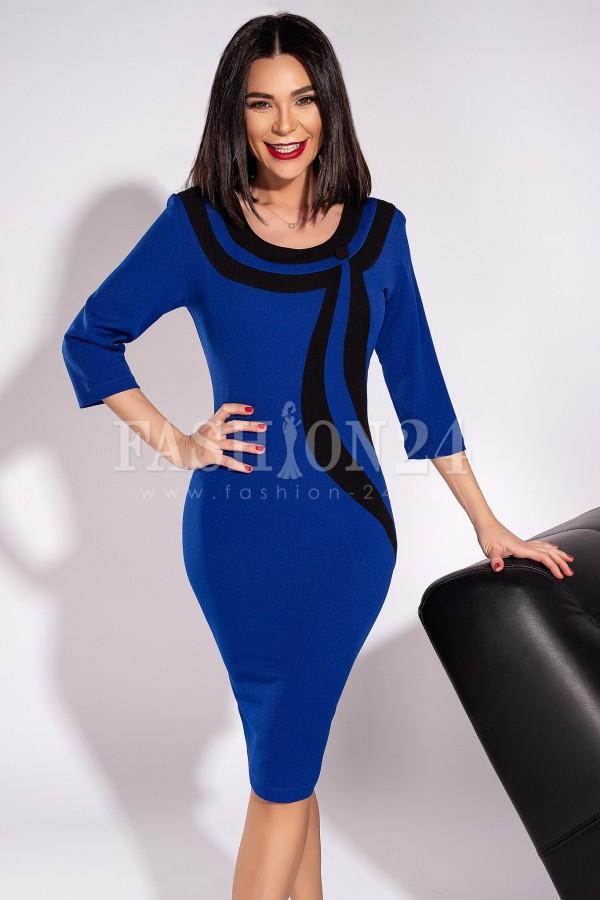Rochie Andra in doua culori albastru si negru