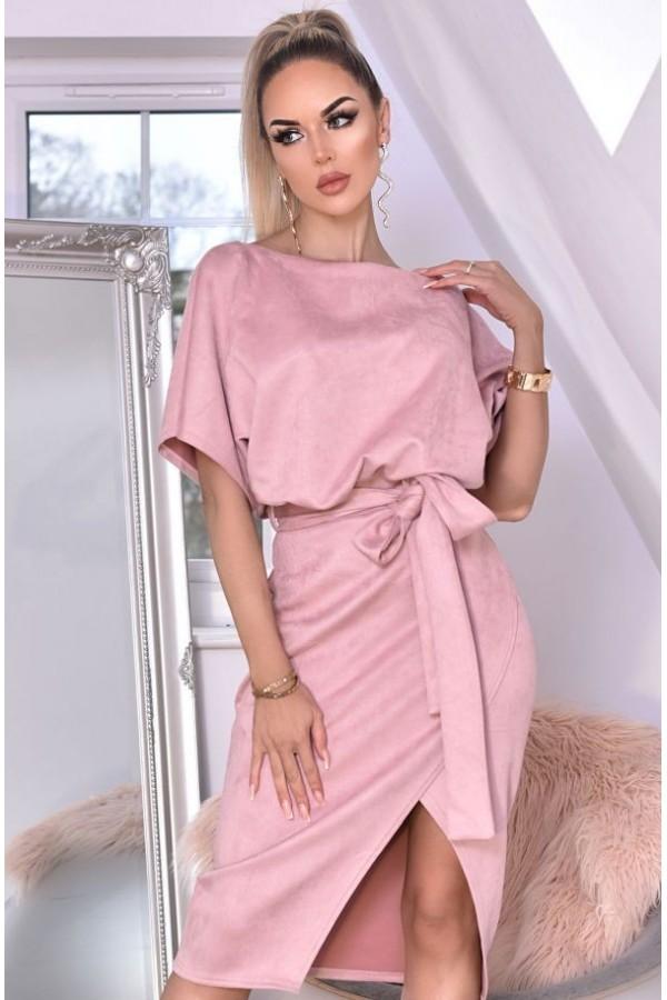 Rochie de seara roze cu cordon in talie