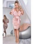 Rochie Natasa roze cu decolteu