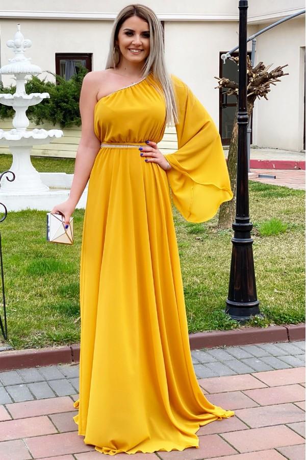 Rochie Sorana galbena cu o maneca lunga