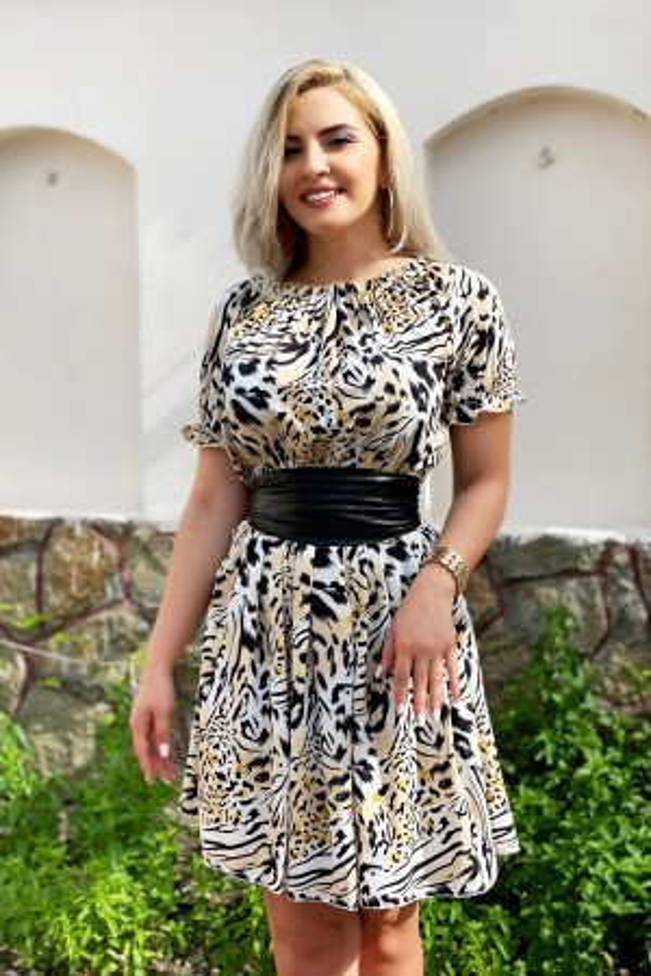 Rochie Clarissa in clos cu model animal print