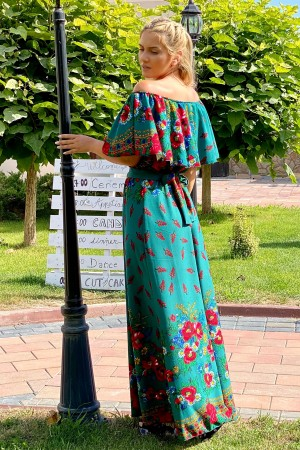 Rochie Maria traditionala in nuante de verde
