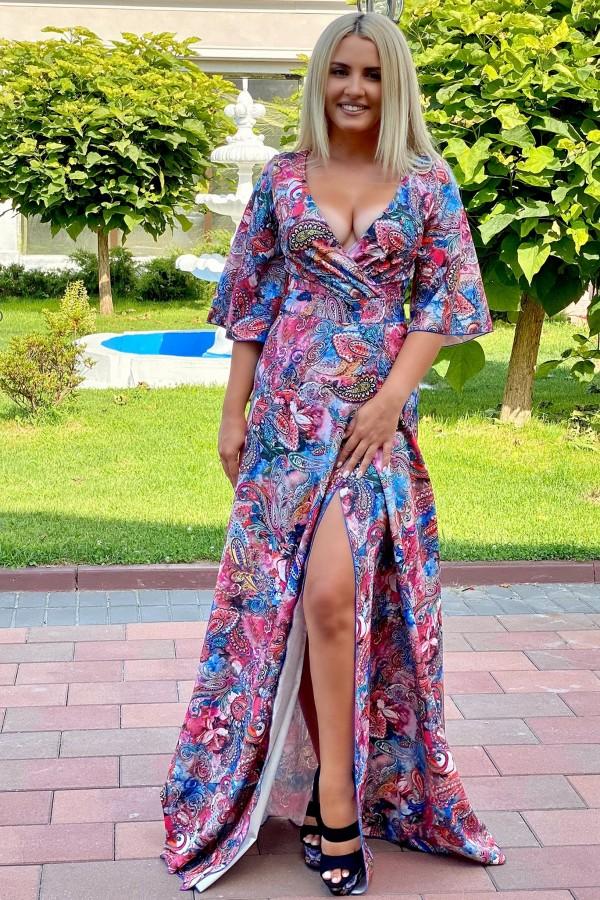 Rochie Sonia cu imprimeuri florale in nuante rose si bleumarin