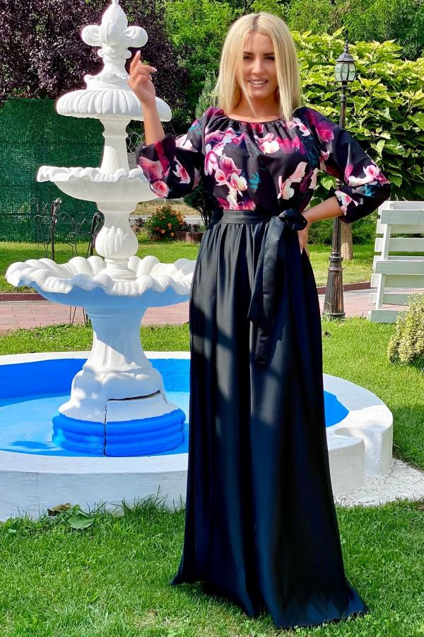 Rochie neagra lunga cu imprimeuri florale Seleny