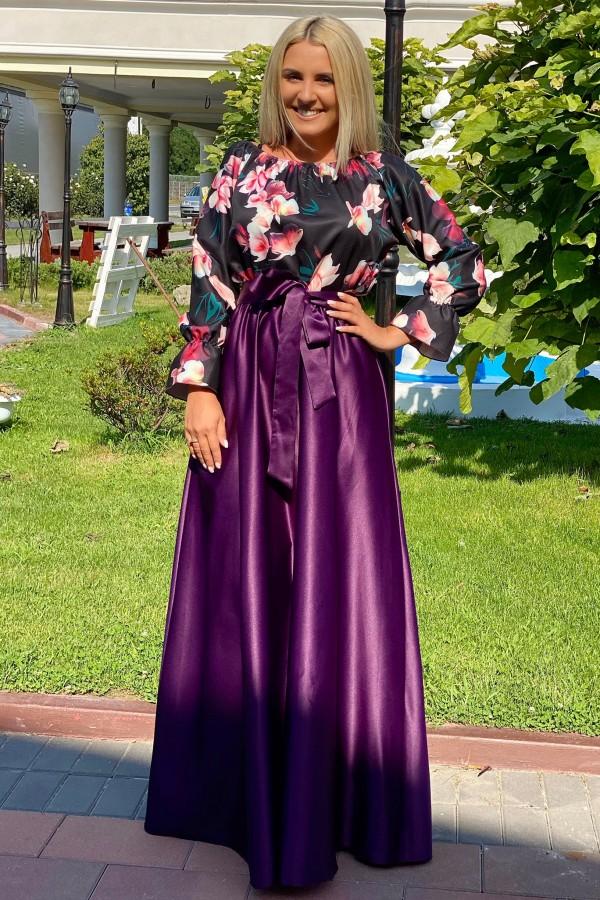 Rochie mov lunga cu imprimeuri florale Seleny