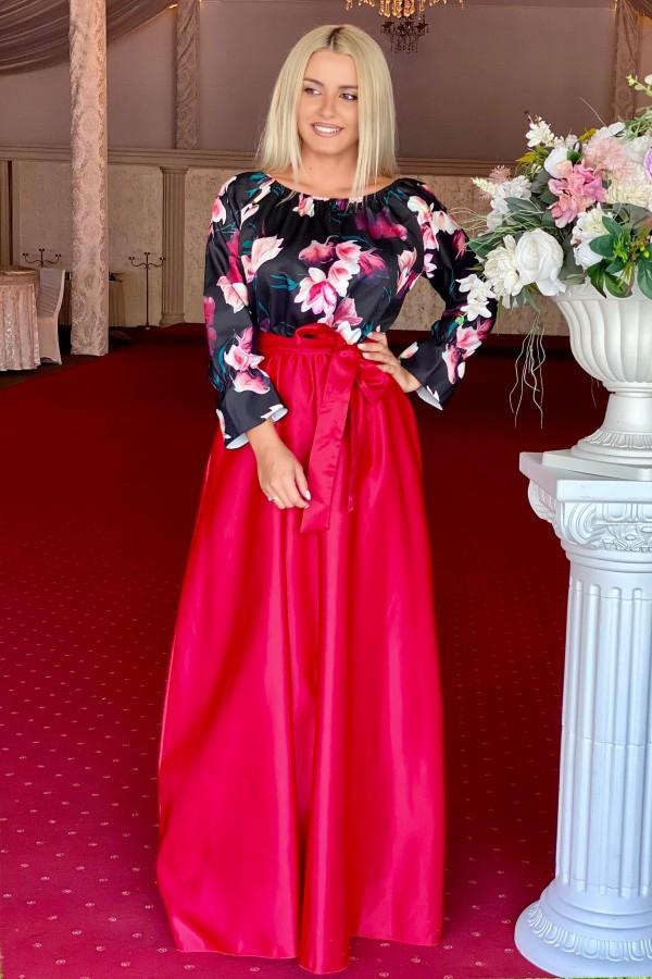 Rochie rosie lunga cu imprimeuri florale Seleny