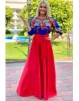 Rochie rosie lunga cu imprimeuri florale Selena
